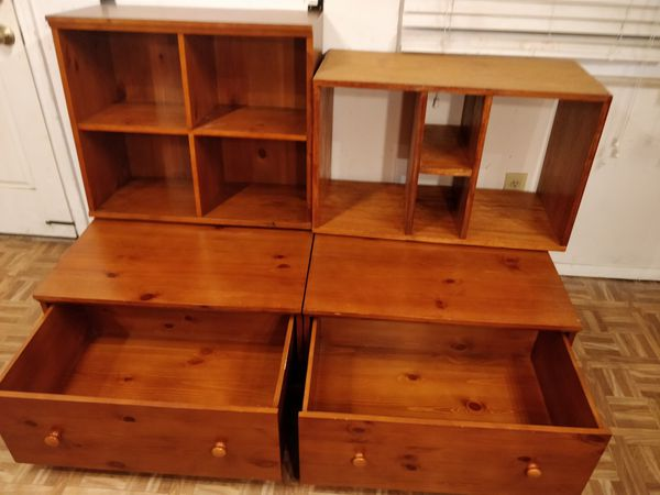 """Solid wood 2 bench &2 shelves with big drawers in good condition all drawers working well, you can attach the shelves to wall, Driveway pickup. Each"""""""