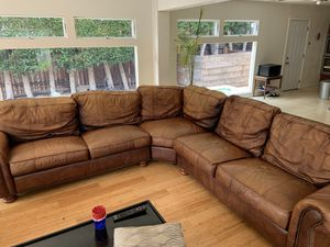 Brown Leather L-Couch for Sale in Newport Beach, CA