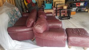 LEATHER COUCH SET - SOFA, LOVE SEAT, EASY CHAIR/ OTTOMAN . USED, BUT IN GOOD CONDITION for Sale in Ruston, WA