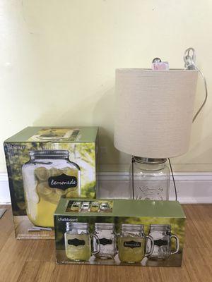 Chalkboard Mason Jar Mugs, Dispenser and Lamp set for Sale in Blue Bell, PA