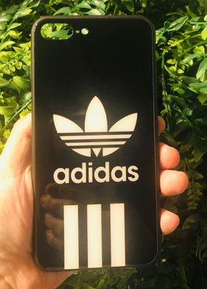 Brand new cool iphone 7+ or 8+ PLUS case cover rubber tempered glass black adidas mens guys hypebeast hypebae womens girls hype swag for Sale in Highland, CA
