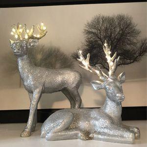 Silver & Gold Glitter Light-Up Reindeer for Sale in Loganville, GA