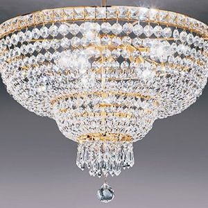 Austrian flush mount chandelier Swarovski crystals on gold plated structure by Orion Vienna H18 x W24 inch for Sale in Chandler, AZ