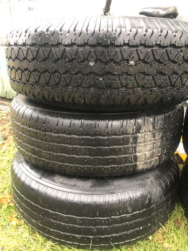 """Izusu Rodeo 15"""" wheels and tires. 235/75R15 some wrangler RT/S some Hankook, all will pass inspection Bristow VA"""
