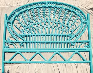Vintage Twin Peacock Rattan Wicker Bamboo Headboard Bed Frame Boho for Sale in Round Rock, TX