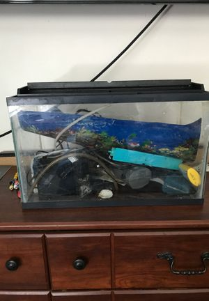 10 gallon fish tank comes with filter,3 air pumps,background, dragon decoration. ‼️READ DESCRIPTION‼️ for Sale in Levittown, PA