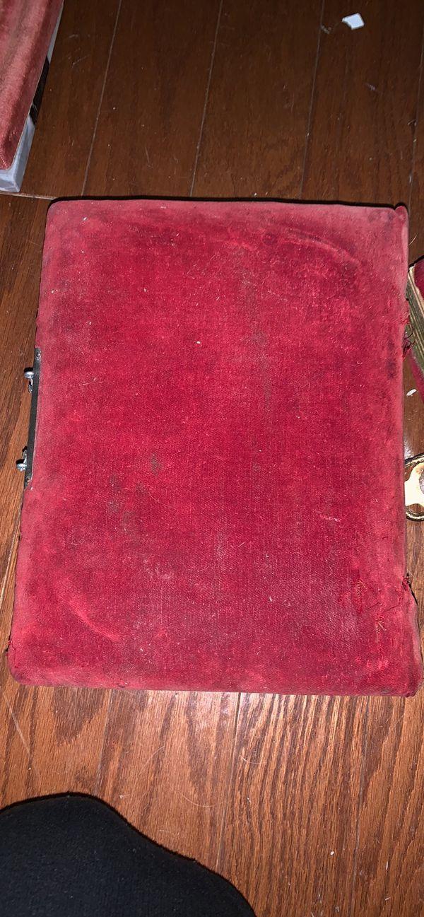 Red velvet and brass antique box