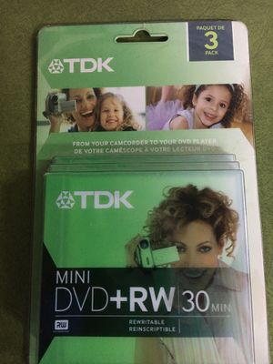 NIB TDK 1.4GB Mini DVD Rewritable +RW 30 Min Disc Backup Video for Sale in Spokane Valley, WA