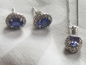 Sterling Silver Diamond Tanzanite Jewelry Set for Sale in Pittsburgh, PA