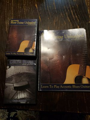 Acoustic blues guitar unleashed dvd course with lesson book and bonus slide guitar program. Like new condition. 197.00 retail. for Sale in Torrington, CT