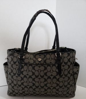Coach Peyton X-Large Black Leather Diaper Bag Multi-purpose Tote Purse for Sale in Houston, TX
