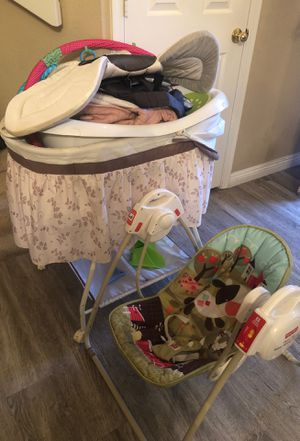 Baby walker baby swing baby basket baby tub some clothes play things for Sale in Henderson, NV