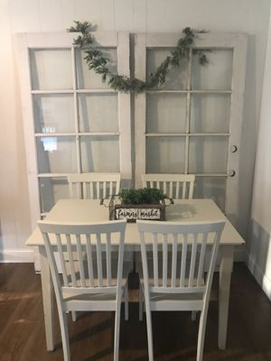 Farmhouse shabby chic heavy dining room table and 4 chairs l will deliver for a fee for Sale in Lodi, CA