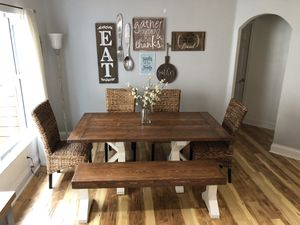 Farmhouse dining table w/ matching bench for Sale in Orlando, FL