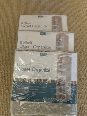 3 pack Simplify 6 Shelf Closet Organizer for Sale in Chula Vista, CA