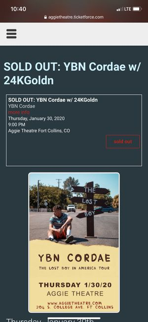 YBN Cordae tickets for Sale in Fort Collins, CO