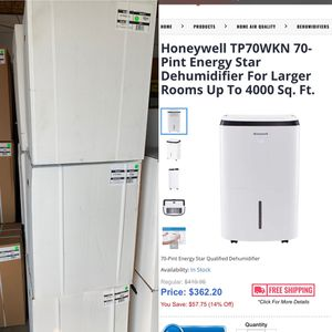 Honeywell TP70WKN 70-Pint Energy Star Dehumidifier For Larger Rooms Up To 4000 Sq. for Sale in Dearborn Heights, MI
