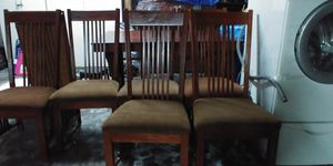 Dining Room Set 11 Piece. Good Condition. Includes 6 Chairs (2 never used) Cabinet and Hutch with 2 Leaves. One small mirror in hutch cracked. for Sale in Modesto, CA
