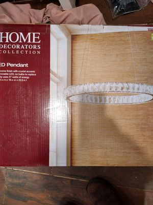 Home Decorators Collection 24 in. Chrome Integrated LED Pendant, Clear Crystals for Sale in Brockton, MA