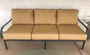 Black iron patio set sofa couch, 2 club chairs, beige sunbrella fabric for Sale in Tempe, AZ