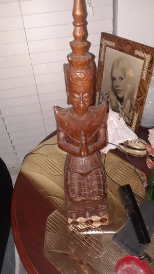 Teak Wood Statue From Thailand 1965 24 for Sale in Valrico, FL