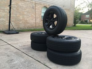 """18"""" gloss black rims and tires for Sale in Missouri City, TX"""