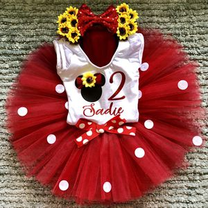 Minnie Mouse Red Polkadot & Sunflower Birthday Outfit: Personalized Onesie, Tutu, & Headband Ears for Sale in Long Beach, CA