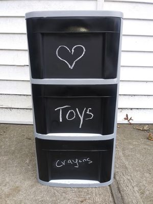 3 draw sterilte plastic cabinet with chalk board drawers for Sale in Lindenhurst, NY
