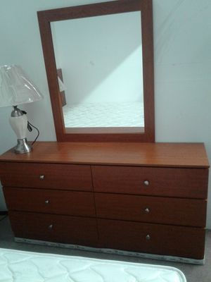 NEW, 6 drawer dresser with mirror. Available in black, white, cherry or cappuccino . Can be purchased w/o Mirror for less. for Sale in Pembroke Pines, FL