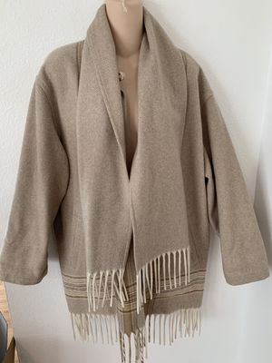 Pendleton Women's Beige 100% Wool Jacket w Stripes Fringe and Built in Scarf One-Size-Fits-Most RARE for Sale in Beaverton, OR