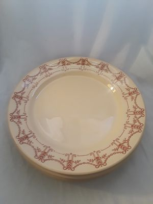 1940s Antique Desert Ware / Desertware Wallace China Dinner Plates set of 4 - cream & Brick Red/Brown Vintage Retro for Sale in Chandler, AZ
