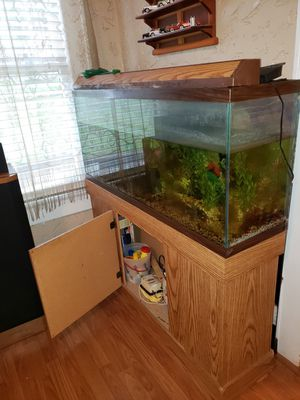 55 gallon fish tank with stand and supplies. Including pump filter etc. for Sale in Winter Haven, FL