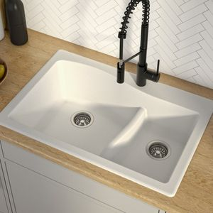 """Title: KRAUS Quarza™️ 33"""" Dual Mount 60/40 Double Bowl Granite Kitchen Sink in White(Shipping corner crack) Description: Outer Sink Dimensions: 33"""" L for Sale in Houston, TX"""