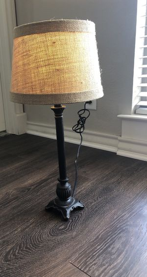 Small black Lamp, scroll design on base, burlap-type shade, neutral for Sale in San Antonio, TX