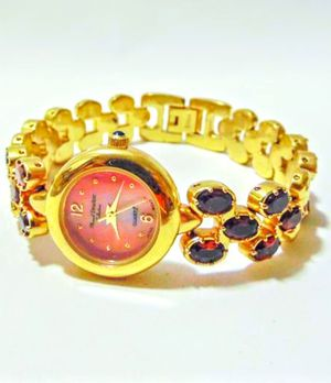 Marcell Drucker Women's 14K Gold-Plated Watch With Maroon Stones - New for Sale in Rockville, MD