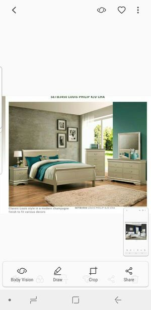 BRAND NEW TWIN FULL QUEEN BEDROOM SET INCLUDES BED FRAME DRESSER MIRROR AND NIGHTSTAND ADD MATTRESS ALL NEW FURNITURE BY USA MEXICO FURNITURE for Sale in Riverside, CA