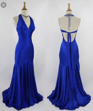 Royal blue silk evening prom gown dress: size 4-6 for Sale in Chantilly, VA