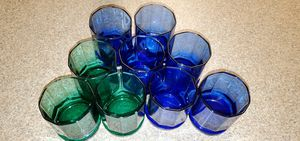 (9) Anchor Hocking Cobalt Blue & Juniper Green Essex 10 Panel Double Old Fashioned Glasses Made in the USA for Sale in Fort Lewis, WA