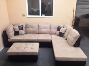 Beige tan microfiber sectional couch and storage ottoman for Sale in Portland, OR