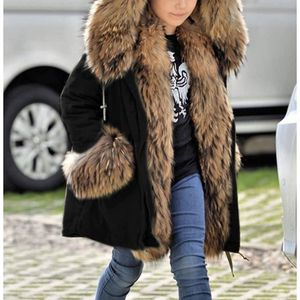 Kids Unisex Coat Winter Black Jacket Faux Fur Parka Casual Hooded Warm Trench Outwear Children Clothes for Girls Boys for Sale in Boston, MA