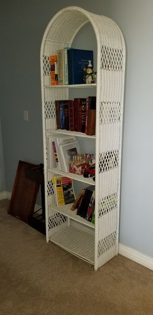 Reduced price TWO VINTAGE RATTAN ARCHED BOOKCASES for Sale in Meridian, ID