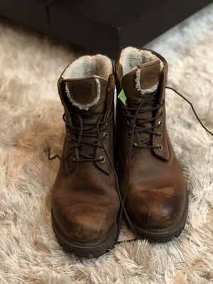 Mens Timberland Leather Brown Lace Up Boots with fur Sz 9M for Sale in San Francisco, CA