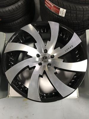 """22"""" Inch Brand New LUX12 Black Machined Spike Rivets 22X9.5 Wheels Rims Rines 5X115/4.52 for Sale in Austin, TX"""