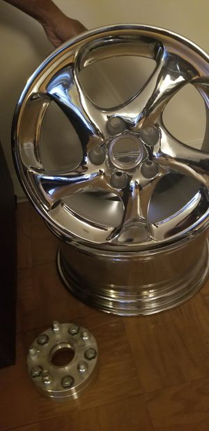 "BRAND NEW 18"" FACTORY PORSCHE 911, 987, BOXSTER CHROME OEM WHEEL RIMS 18×8. WITH CENTER CAP. 4 SETS for Sale in Greenbelt, MD"