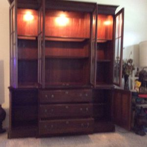 Ethan Allan Completely Cherry Wood China Closet With Smoke Belva Inserts Glass In Doors And Inserts Shelves . for Sale in Boynton Beach, FL