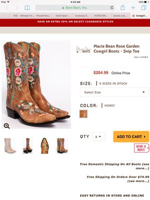 "MACIE BEAN - ""Rose Garden"" Embroidered - Cowboy Cowgirl Boots for Sale in Houston, TX"