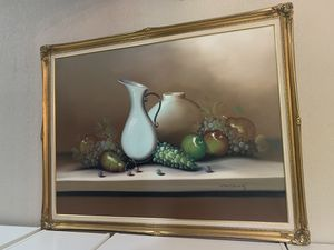 HUGE CANVAS FRUIT PAINTING 53X41 WITH STUNNING GOLD FRAME for Sale in Apopka, FL
