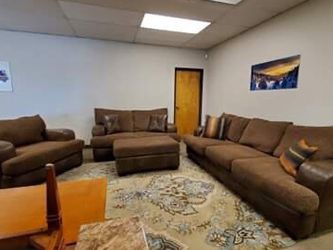 Brown Two Toned Leather Couch Loveseat And Chair Set for Sale in Aurora,  CO
