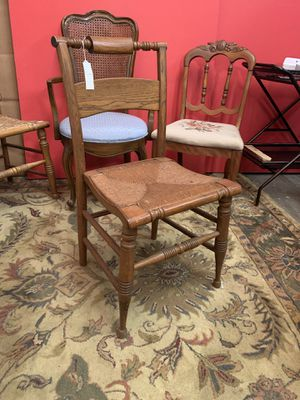 Antique chair with woven pattern seat. for Sale in Raleigh, NC