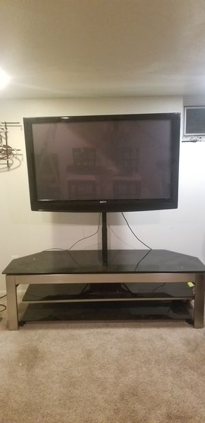 """Cushioned chair and 64""""x 22.5"""" tv stand great for 47"""" TV for Sale in Denver, CO"""